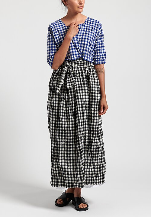 Daniela Gregis Washed Cotton Wisteria Long Jacket in White/ Black Check