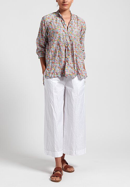 Daniela Gregis Washed Cotton Honey Kora Top in Peach Flower Mix