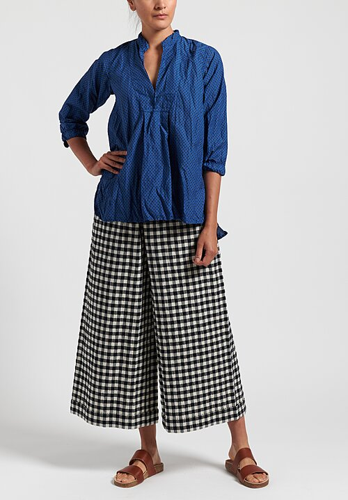 Daniela Gregis Cotton Wide Leg Check Pants in Black