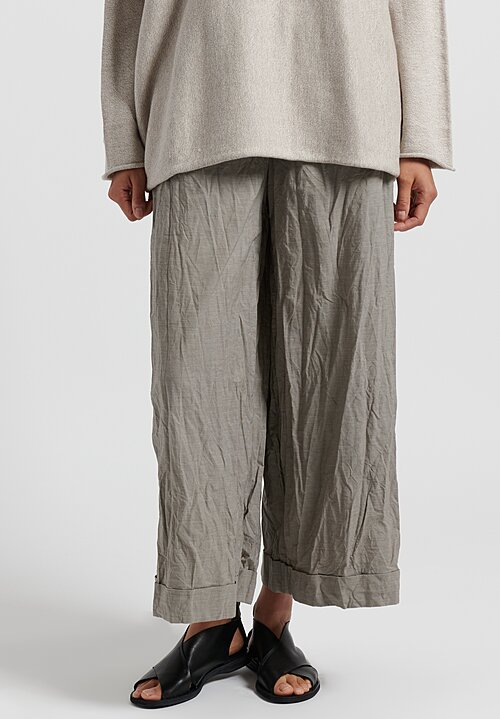 Daniela Gregis Washed Cotton Houndstooth Wide Leg Pants in Natural