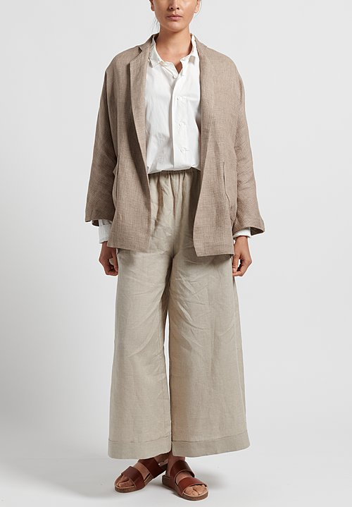Daniela Gregis Linen Houndstooth Peony Jacket in Natural