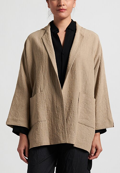 Daniela Gregis Linen Oversize Textured Peony Jacket in Natural