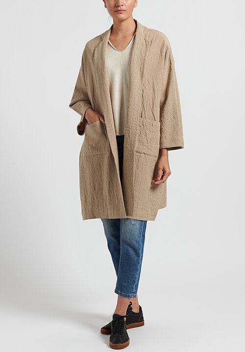 Daniela Gregis Linen Honey Peony Long Jacket in Natural