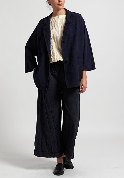 Daniela Gregis Linen Honey Poppy Jacket in Dark Blue