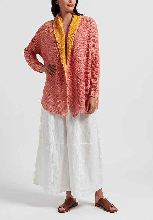 f Cashmere Shawl Collar Cardigan in Coral