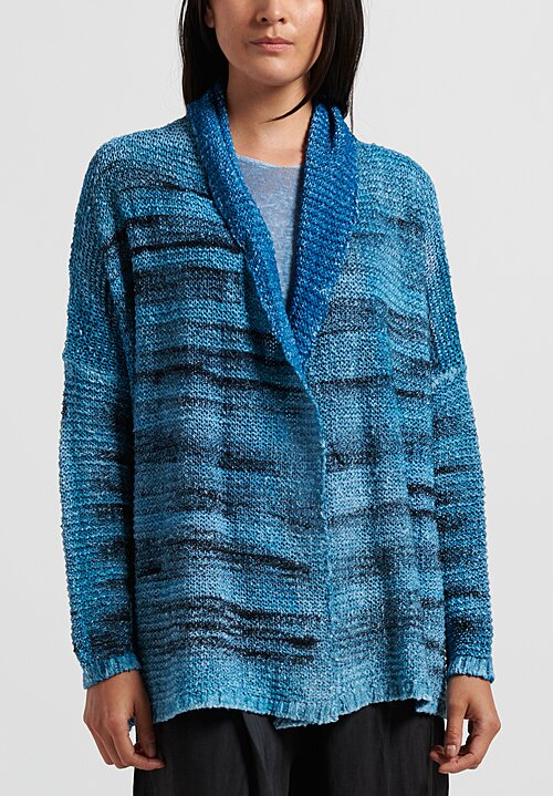 f Cashmere Shawl Collar Cardigan in Blue