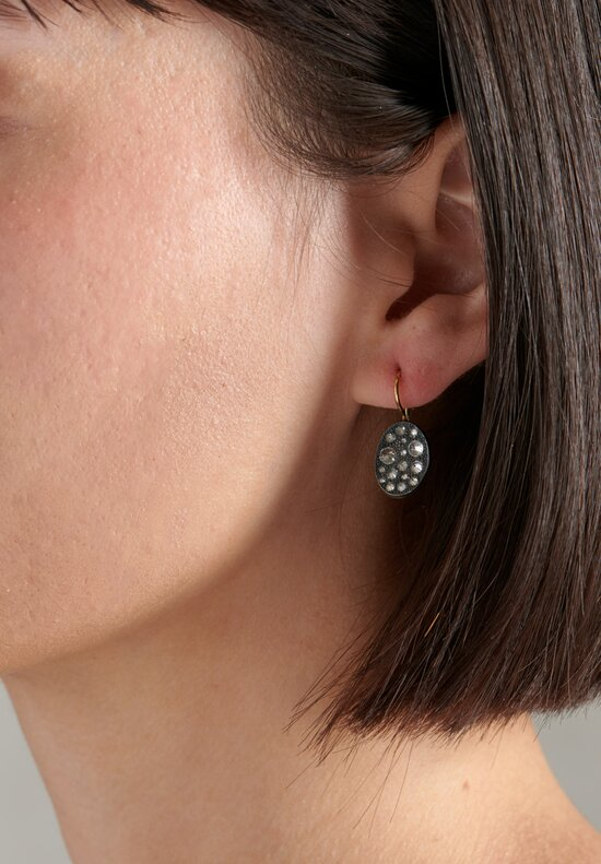 TAP by Todd Pownell 18k, Oxid Silver, Oval Inverted Diamond Drops