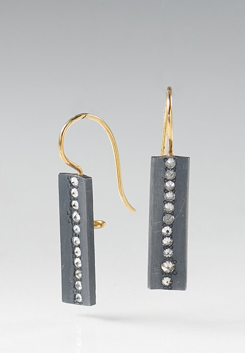 TAP by Todd Pownell 18k, Oxid Silver, Long Concave Rectangles with Inverted Diamonds