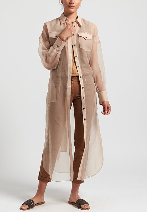 Brunello Cucinelli Silk Organza Duster in Natural