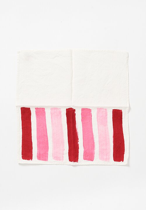 Bertozzi Handmade Linen Striped Napkin in Rose