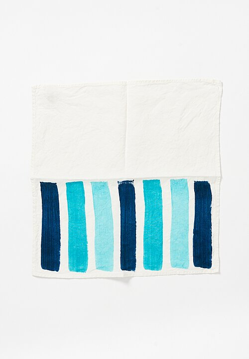 Bertozzi Handmade Linen Striped Napkin Blue Green Multi