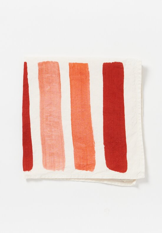 Bertozzi Handmade Linen Striped Napkin in Red