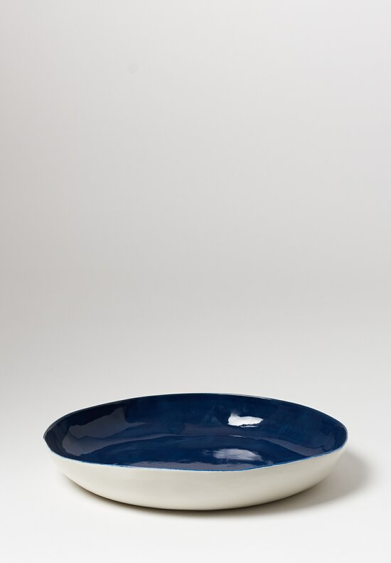 Bertozzi Solid Interior Shallow Serving Bowl in Blue
