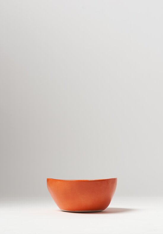 Bertozzi Handmade Porcelain Solid Painted Medium Bowl in Arancio Orange