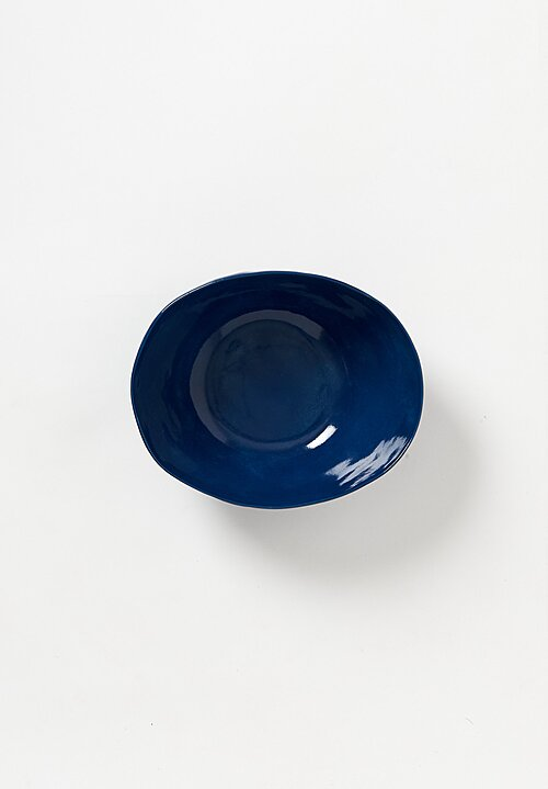 Bertozzi Handmade Porcelain Solid Painted Medium Bowl in Blue