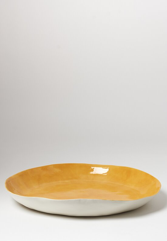 Bertozzi Porcelain Interior Painted Large Shallow Serving Bowl in Giallo Yellow