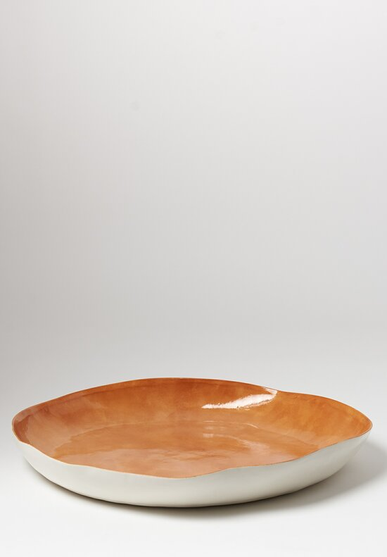Bertozzi Porcelain Interior Painted Large Shallow Serving Bowl in Bruno Brown