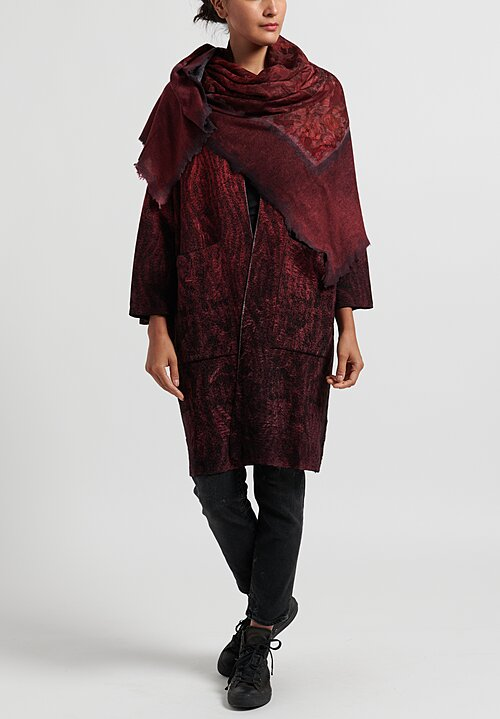 Avant Toi Jumbo Felted Floral & Paisley Print Scarf in Wine
