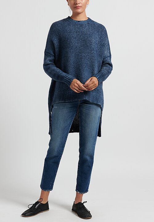 Avant Toi Oversized Sweater with Distressed Back in Deep