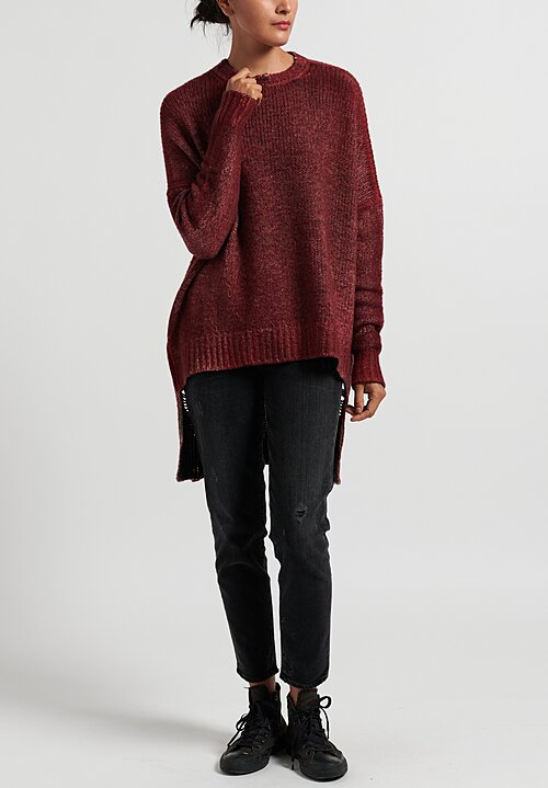 Avant Toi Oversized Sweater with Distressed Back in Wine