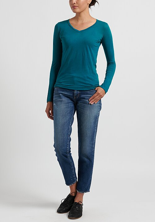Avant Toi Lightweight Knitted Long Sleeve T-Shirt in Pavone
