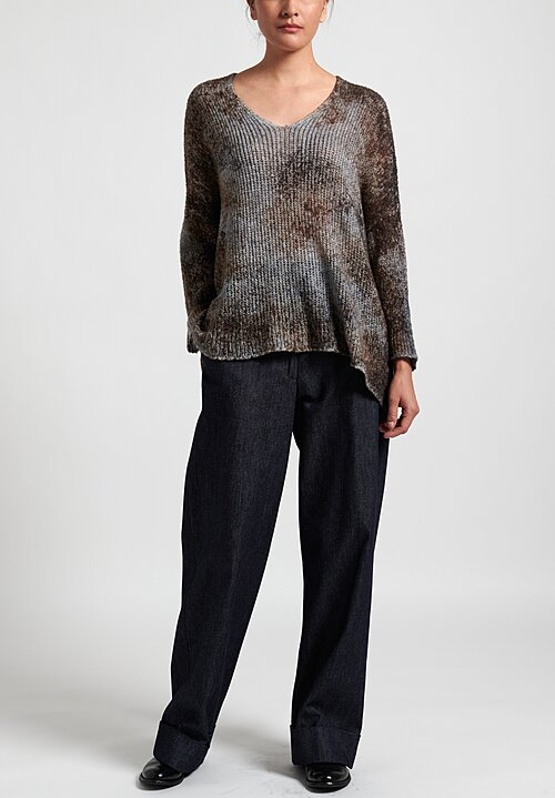 Avant Toi Loose Knit Oversized V Neck Sweater in Suede/ Carruba