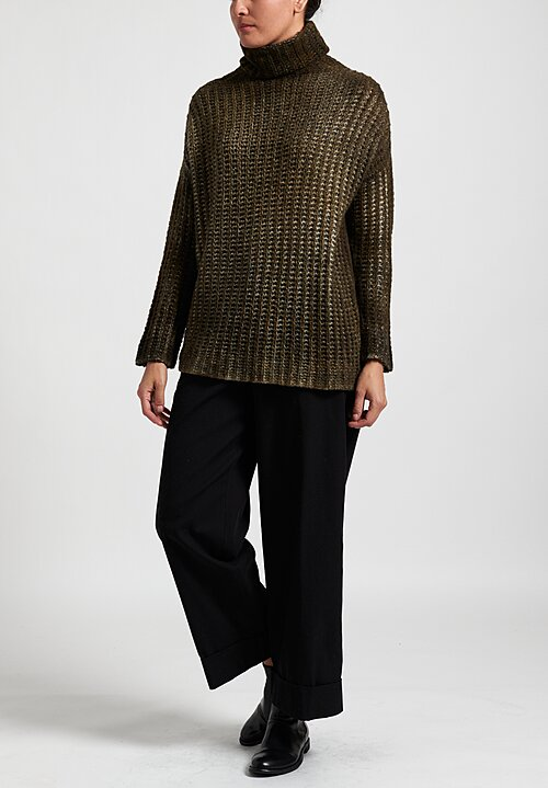 Avant Toi Oversize Cob Stitch Sweater in Olive