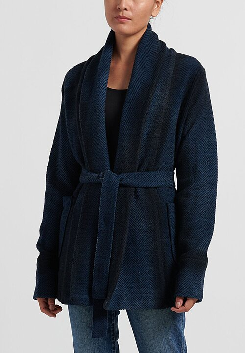 Avant Toi Herringbone Belted Shawl Jacket in Navy