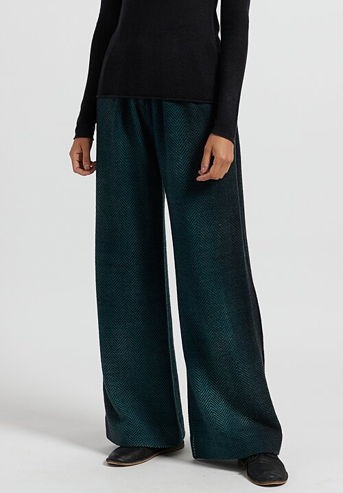 Avant Toi Pleated Herringbone Trousers in Pavone