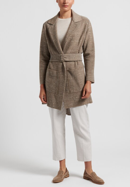 Linen/Silk Tramato Stitch Belted Jacket in Natural
