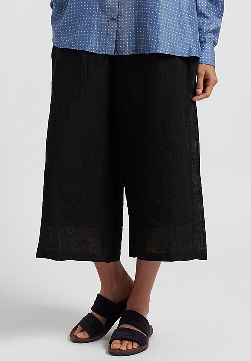 Maison de Soil Linen/ Cotton Easy Pants in Black