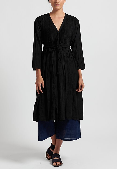 Maison de Soil Cotton/ Linen Mini Pintuck Wrap Dress in Black