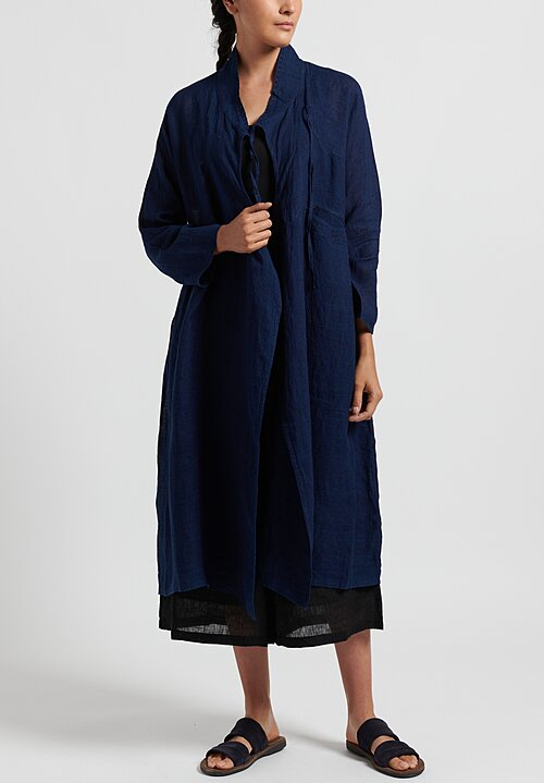 Maison de Soil Hand Stitched Wrap Dress in Dark Indigo