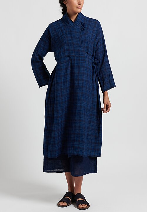 Maison de Soil Hand Stitched Wrap Dress in Indigo Tartan
