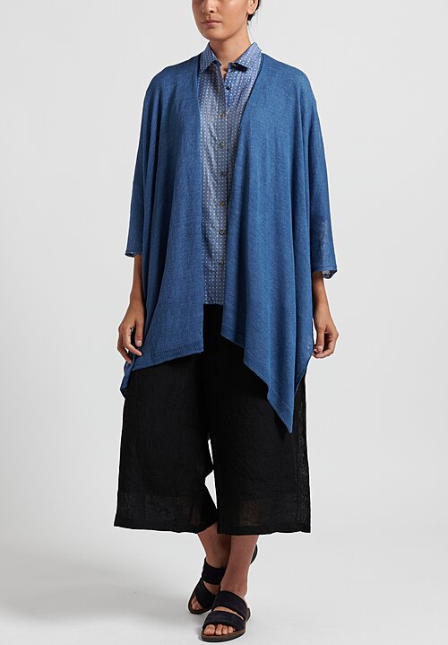 Maison de Soil Lightweight Linen Cape in Light Blue