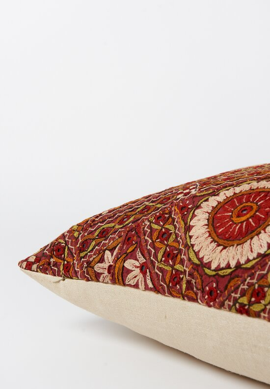 Shobhan Porter Long Embroidered Mirror Indian Pillow Red/ Orange I