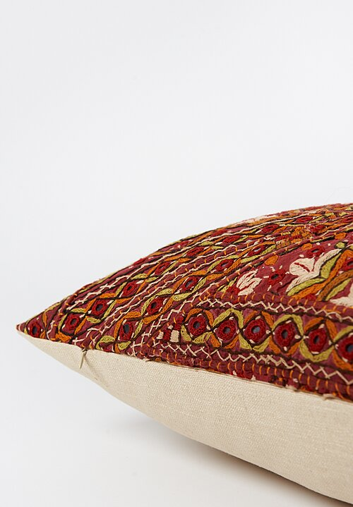 Antique and Vintage Long Embroidered Mirror Indian Pillow in Red/ Orange II