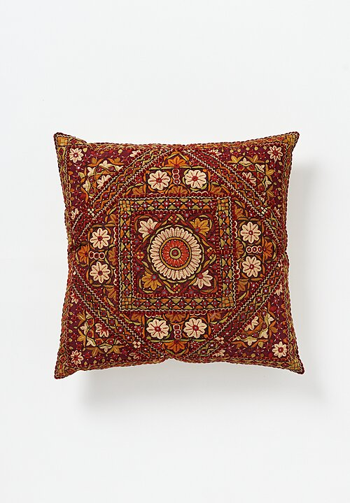 Shobhan Porter Square Embroidered Mirror Indian Pillow Deep Red