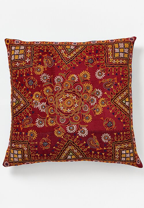 Shobhan Porter Square Hand Embroidered Indian Pillow Red/ Blue