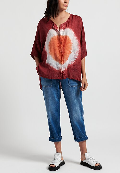 Gilda Midani Pattern Dyed Linen Button-Down Super Shirt in Circle Burn/ Pepper/ White