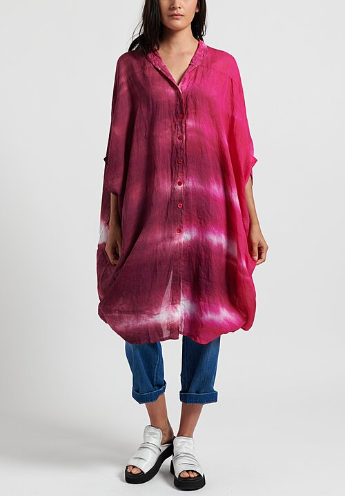 Gilda Midani Pattern Dyed Linen Square Dress in Laser