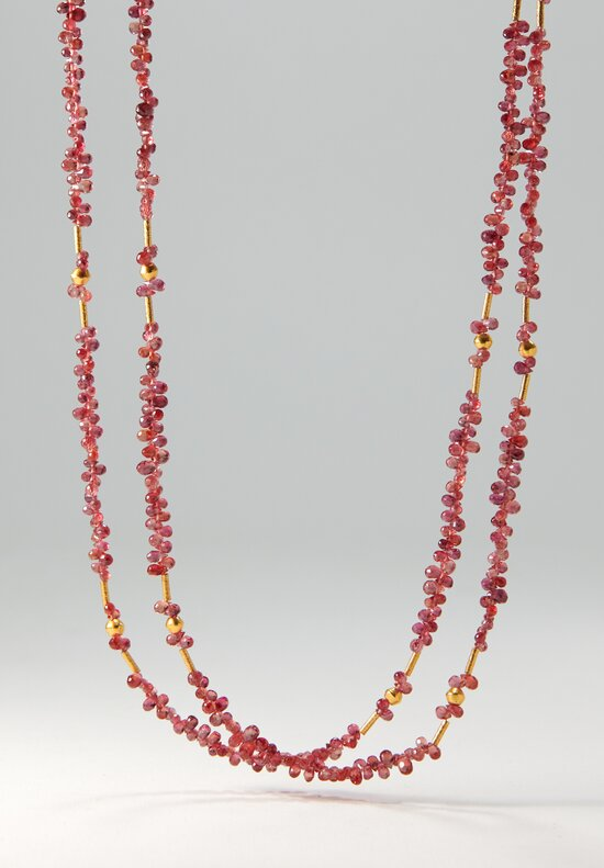 Greig Porter 18k, Red Briolette Sapphire Long Necklace