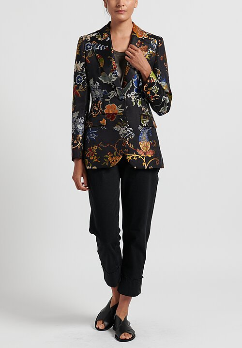 Etro Floral Brocade Fitted Jacket	in Black