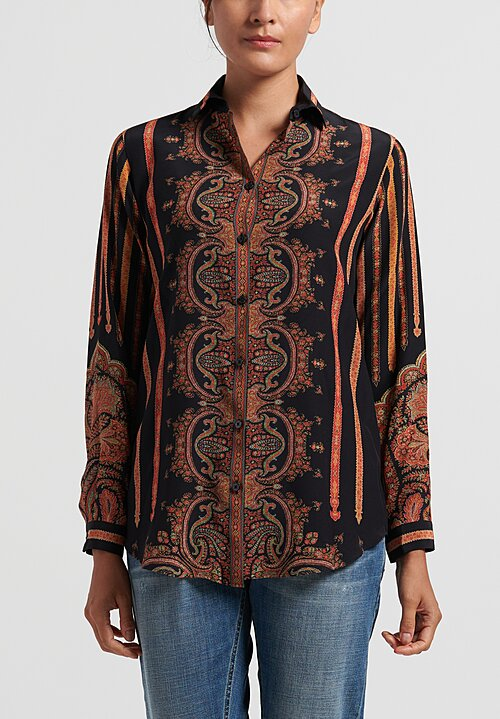 Etro Relaxed Paisley Shirt in Black