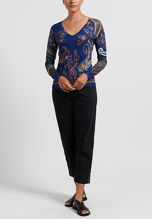 Etro V-Neck Paisley Silk and Cashmere Sweater in Blue