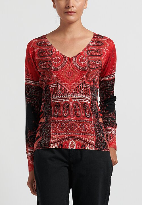 Etro V-Neck Paisley Silk and Cashmere Sweater in Red
