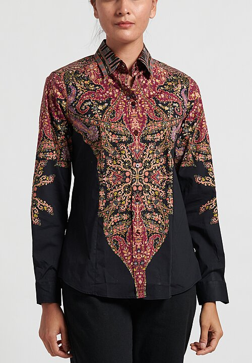 Etro Printed Button Up Shirt in Black