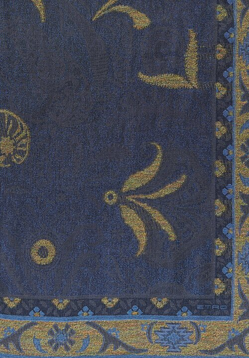 Etro Patterned and Textured Jacquard Woven Scarf in Blue