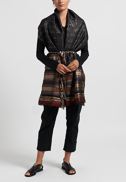 Etro Metallic Pattern Jacquard Scarf Gold/ Black