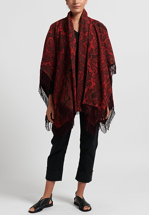Etro Paisley Print 2-Piece Poncho in Red
